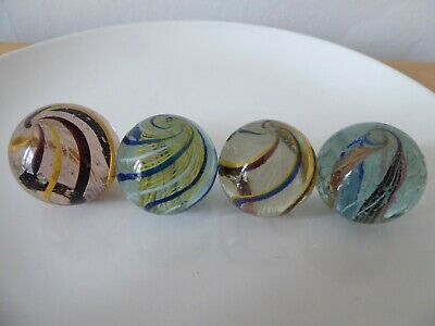 Job Lot Of Vintage Antique Latticino Core Swirl Glass Marbles  • 45£