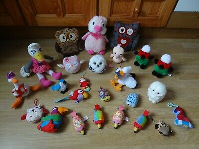 Bundle 25 X Plush COLOURFUL BIRDS Soft Toys 10 Ins High Max - Inc. Owls, Robins • 5.99£