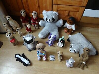 Bundle 19 X Plush MEERKATS,RACOONS,MOLE, BEAVER, SKUNK Soft Toys 21 Ins High Max • 5.99£