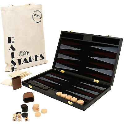 Backgammon Set With Portable Folding Wooden Board And Cotton Tote Travel Bag • 29.95£
