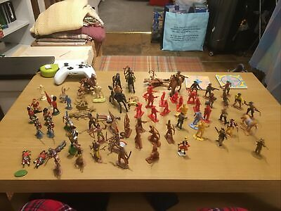 Vintage Toy Soldiers Miniarures Collection Mostly Cowboys And Indians • 25£
