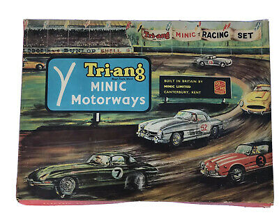 1960s TRI-ANG MINIC MOTORWAYS SET FULLY COMPLETE JAGUAR 3.4 CARS GOOD CONDITION • 99.99£