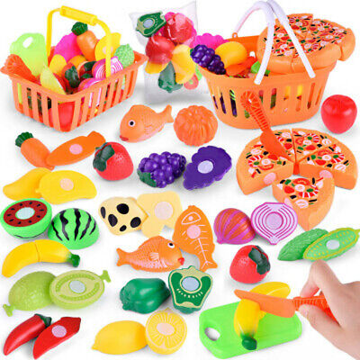 6-24pcs Kids Pretend Role Play Kitchen Fruit Vegetable Food Toy Cutting Set Gift • 10.11£