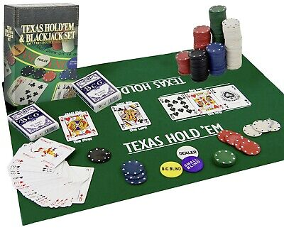 A Texas Hold'em Poker & Blackjack Set Casino Game With Cards, Chips & Mat • 9.99£