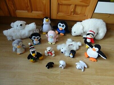 Bundle 16 X Plush POLAR BEARS & PENGUINS Soft Toys 16 Ins Long Max  • 5.99£