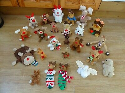 Bundle 24 X Plush SMALL RED NOSE REINDEER & MOOSE Soft Toys 8 Ins High Max • 5.99£