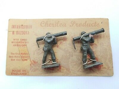 Vintage Cherilea Infantryman Woth Bazooka Hollow Lead Metal Toy Soldiers On Card • 32.99£