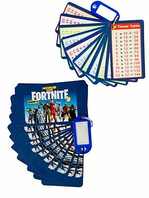 2x Times Tables Flash Cards With Key Tag Educational Fortnite Season 14 Season 2 • 3.99£