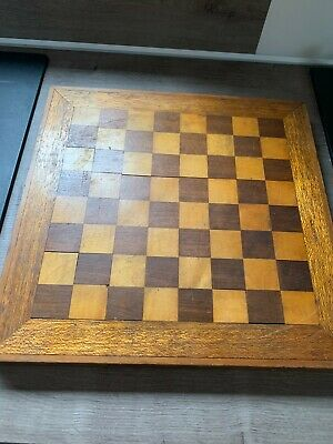 Vintage Wooden Chess Board 37.5 X 37.5. Inlaid Squares 3.7cm • 15£