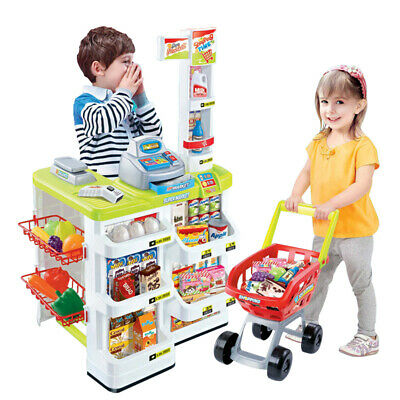 Kids Supermarket Play Set Super Store Toy Shop Shopping Game With Light & Sound • 26.95£