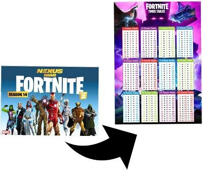 2 XTimes Tables Poster Maths Chart Multiplications Educational Fortnite 14 Theme • 3.29£