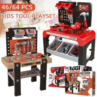 46/64Pcs Kids Tool Bench Playset Pretend Repair Work Construction Toy Set • 99£