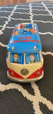 VW Camping Bus Yonezawa Tin Toy Friction Operated 1960s  From Japan • 200£