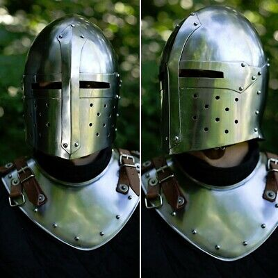 Larp Sugar Loaf Helmet - Ideal For Events LARP & Re-enactment. Metal Armour • 85£