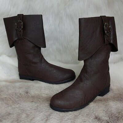 Brown Caribbean Pirate Distressed Leather Look Calf Boots. Ideal For LARP • 68£