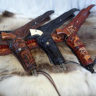 Tooled Leather Western Belt & Holster. Perfect For Costume Or LARP • 129£
