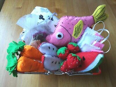 Handmade Play Food With Shopping Basket Pretend Play Felt • 23.95£