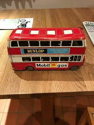 Vintage Japanese Tinplate London Double Decker Bus Toy Collectable (atd) • 25£