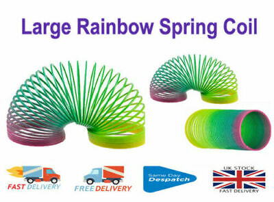 Large Rainbow Color Spring Coil Slinky Fun Kids Toy Stretchy Bouncing Magic Toy • 3.09£