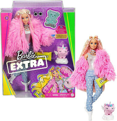 Barbie Extra Doll In Pink Fluffy Coat With Unicorn-Pig Toy • 28.99£