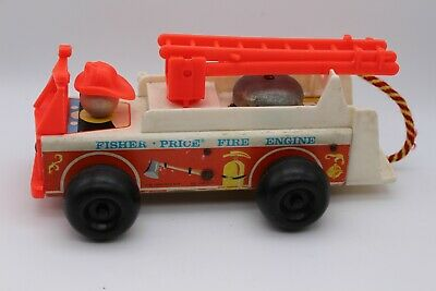 Vintage Fisher Price Pull Along Fire Engine With Ringer 1968 Play Family Toys  • 12.95£
