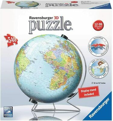 Ravensburger 12436 World On A V-Stand 540 Piece 3D Globe Jigsaw Puzzle • 17.19£