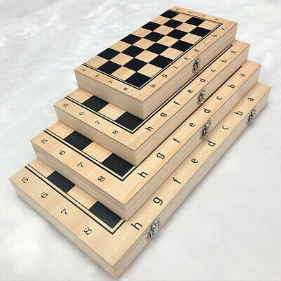 FOLDING WOODEN CHESS SET Board Game Checkers Backgammon Draughts Toy 4 Size • 23.51£