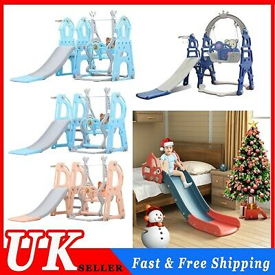 4 In 1 Toddler Climber Slide Play Swing Set Kids Indoor Outdoor Playground Toy • 77.23£
