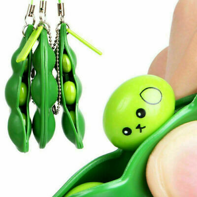 Soy Bean Pea Pod Fidget Stress Toy Keyring Xmas Gift For Her Him Kids 2021 NEW✦ • 2.68£