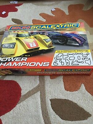 Micro Scalextric Power Champions Track & Cars, Used Condition • 20£