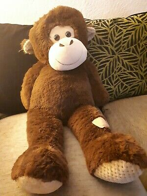 Large 100 Cm Brown Monkey Stuff Toy Kids Cuddly Bed Toy Soft Teddy New • 15£