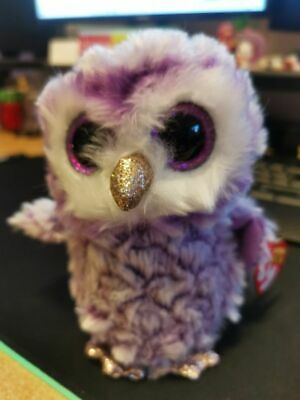 Bnwt Ty Beanie Boos 36325 Moonlight The Purple Owl Boo Regular • 2£