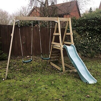 Plum Swing Slide Wooden Outdoor Playframe Comes Additional Baby Seat Swing • 20£