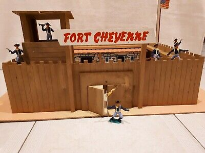 Vintage 1960's / 1970's Wild West Fort, For Plastic Metal Timpo Figures/soldiers • 5£
