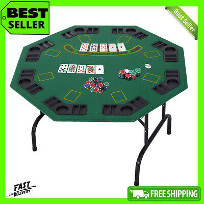 8 Player Folding Poker Table Octagonal Playing Card Game Casino Cup Holder Trays • 99.99£