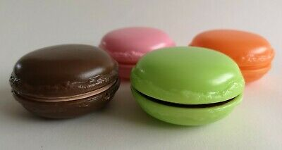 4 Colourful Plastic Macaroons Apricot, Pistachio, Choc, Strawberry Play Display • 2.50£