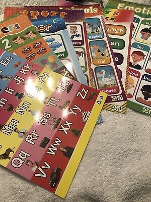 Set Of 8 Laminated Childrens Learning Cards • 5£
