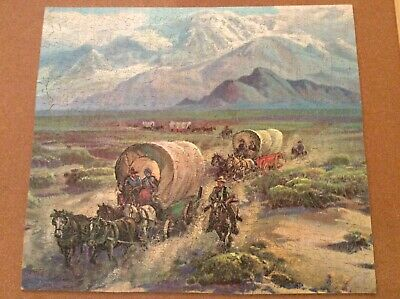 """800 PCS.VINTAGE 30's WOODEN ARTISTIC PUZZLE """"COVERED WAGONS"""" • 10£"""