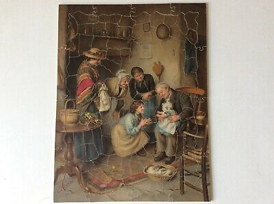 """Stunning Vintage Wooden Pears Print Puzzle """"family Worship""""  143 Pcs • 10£"""