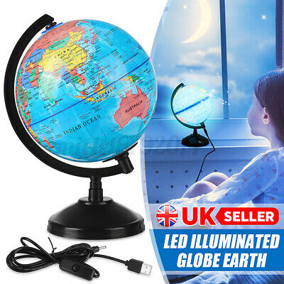 Rotating LED Night Light World Earth Globe Map Geography Education Bedside Lamps • 16.89£