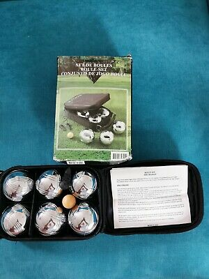 6 Silver Bowls Boules Set With Carry Bag, Target Ball And Distance String  • 19.99£