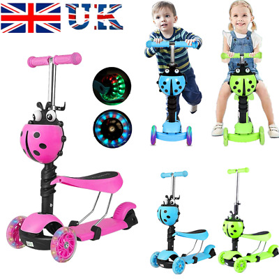 Kids Scooter 3 Wheel Toddler Beginner Kick LED Child Scooters Adjustable Seat • 15.99£