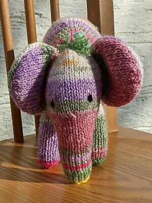 Hand Knitted Toy Elephant In Green, Purple & Pink Stripes - Perfect For Easter! • 7.50£