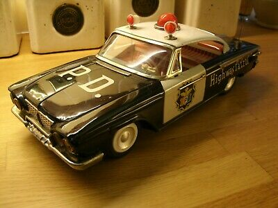 Ichiko Police Tin Car 1961 Plymouth Fury/belvedere Tinplate Toy Working • 185£