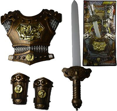 Medieval Sword Knights Armour Chest Plate Gauntlets Toy Kids Fun • 11.44£