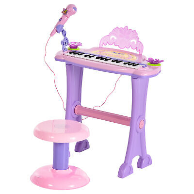 HOMCOM Mini Battery Organ Piano Microphone Stool 32 Key Keyboard Kids Toy • 29.99£