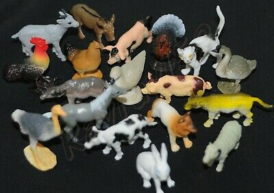 8 Small Toy Farm Animal Play Figures May Include Pig Hen Duck Goat Cat Dog G54 • 3.74£
