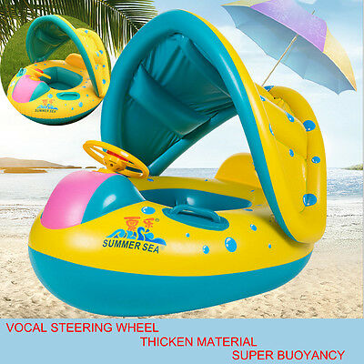 Sunshade Toddler Kid Baby Inflatable Swim Ring / Seat Pool Float Boat With Canop • 12.49£