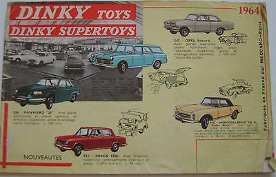 French Dinky Toy Original Catalogue 1964 20 Pages FAIR CONDITION • 30£