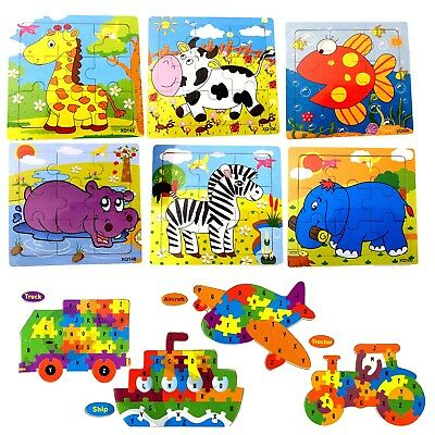 Children Mini Learning Wooden Puzzles Jigsaw Educational Toy Animals / Vehicles • 10.44£